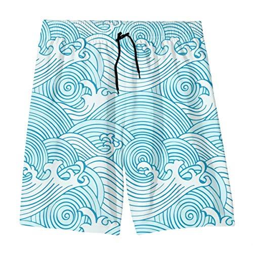 Wangqiuying19 Jungen Beachwear Beach Shorts Hose, Sea Wave Board Shorts für 7–20 Teenager Gr. S, weiß