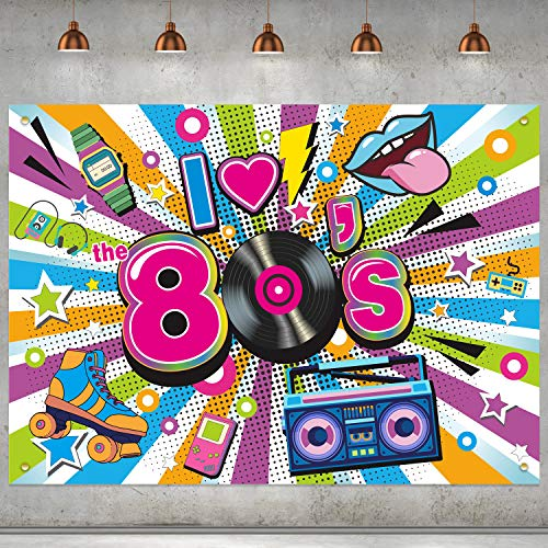 I Love the 80s Fabric Backdrop. Striking, colourful design. Ideal for parties, photo background etc.
