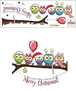 2021 السنة الجديدة نافذة Stickersfor ميلاد سعيد عيد الميلاد الديكور عيد الميلاد-يرتدي البومة على فرع شجرة ملصقات الحائط ال...