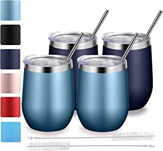 Stemless Wine Tumbler with Lid and Straw, Bastwe 4 Pack 12oz Stainless Steel Wine Glass, Double Wall Insulated Wine Tumbler for Champagne, Cocktail, Beer, Coffee, Drinks (Navy Blue + Blue Gold)