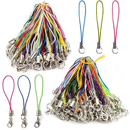 Nsiwem Handyanhänger Schlaufen 200 Stück DIY Handy Lanyard Handyanhänger Handyband Karabinerverschluss Seil zum Aufhängen Handschlaufe für DIY Schmuck Lanyard