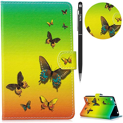 WIWJ Hülle Case für Amazon Fire 7 Zoll (5. Generation/2015),Ultra Slim Gemalt Schutzhülle Tasche Case Mit Schlaffunktion 3D lackiertes Tablet Lederetui Lederhülle-Regenbogen Schmetterling