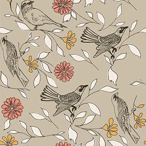 Novogratz Greige Birds | Designer Removable Peel and Stick Wallpaper