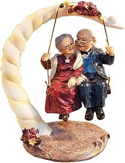 letsgood Creative Handmade Figurines Anniversary Gift - Resin Elderly Couple Statue for Anniversary, Wedding, Birthday, Thanksgiving Day, Home Decor (Style 1: Swing)