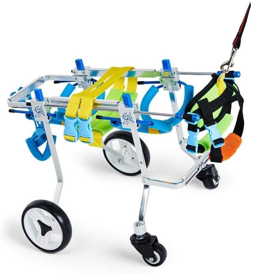 FXBFAG Silla de Ruedas para Perros de 4 Ruedas, sillas de Ruedas Ajustables para Perros pequeños, rehabilitación de Patas traseras, Andador de Perros, Ruedas para Caminar, arnés para Ayudar a Subir