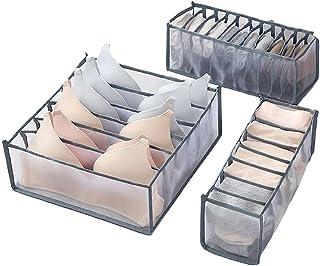 منظم درج قابل للطي للملابس الداخلية وحمالة الصدر والشرابات مكون من 3 قطع