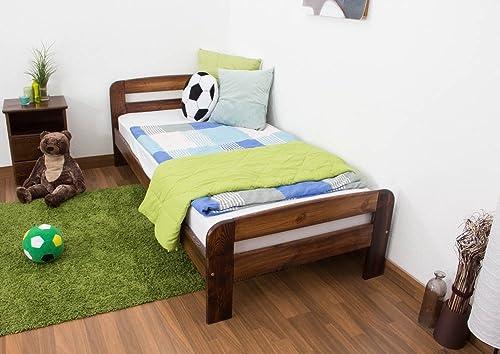 Kinderbett   Jugendbett Kiefer Vollholz massiv Nussfarben A6, inkl. Lattenrost - Abmessung 90 x 200 cm