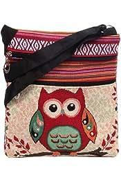 c795a72ac13b Nawoshow Bohemian Owl/Elephant Embroidered Pattern Shoulder Bag ...