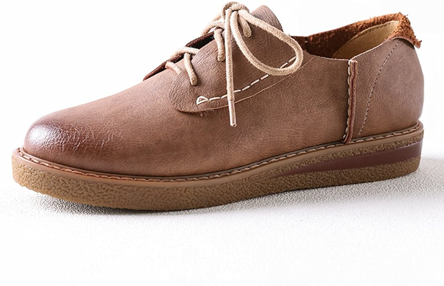 Hoxekle Womens Brown Pure color Perforated Vintage Oxford shoes Flat with Wingtip Oxford shoes