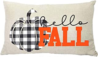 Best ZYCH Hello Fall Black and White Plaid Pumpkin Cotton Linen Square Throw Pillow Case Cushion Cover 12 x 20 Throw Pillow Covers (32) Review