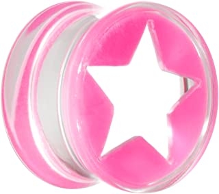 "Body Candy 9/16"" Clear Pink Acrylic Wish on a Star Saddle Ear Gauge Plug (1 Piece)"