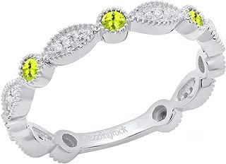 14K Round Gemstone & White Diamond Ladies Vintage Style Stackable Wedding Band Ring, White Gold