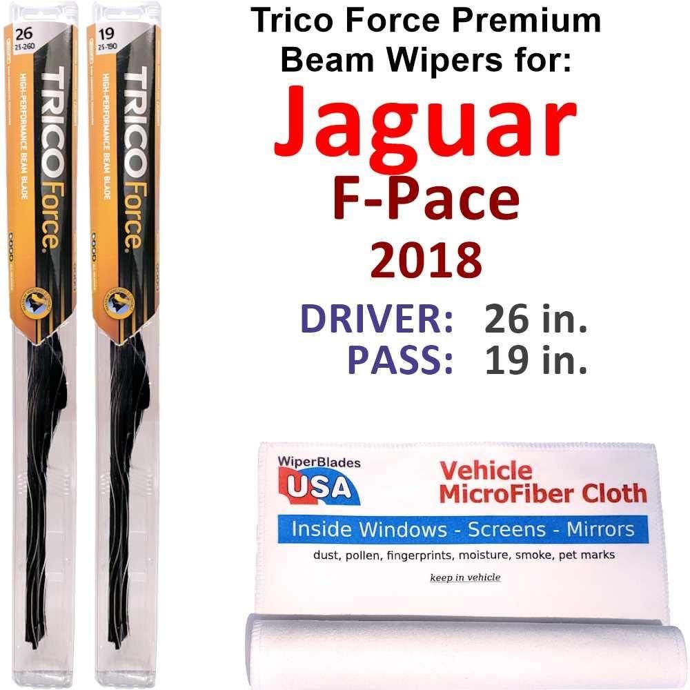 Premium 保証 Beam Wiper Blades for 2018 Trico Force ついに入荷 Jaguar Set F-Pace
