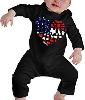 Mri-le1 Baby Girls Jumpsuit Austrian USA Flag Heart Infant Long Sleeve Romper Jumpsuit