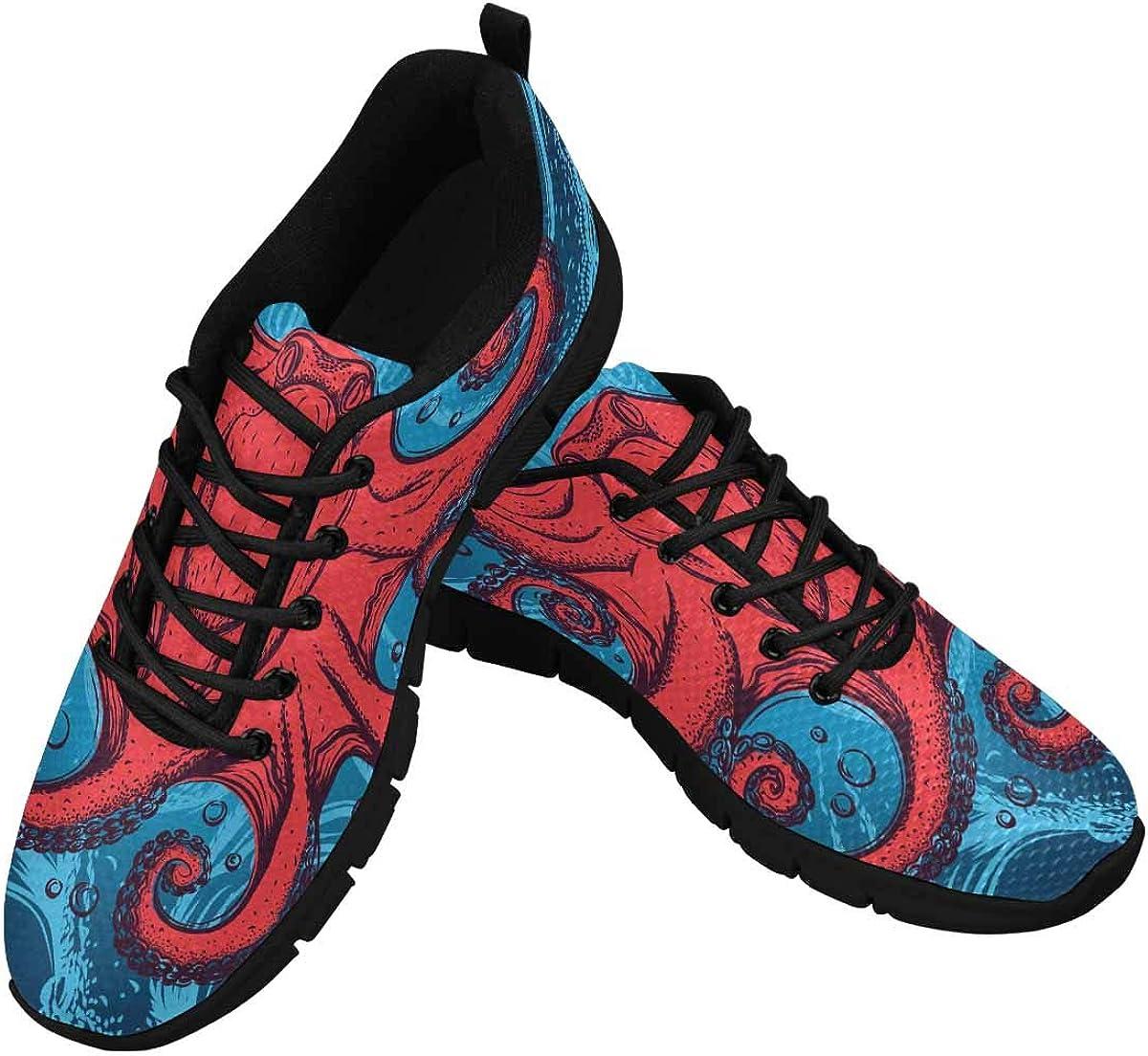 INTERESTPRINT Red Max 68% OFF Octopus Women's Casu Walking unisex Lightweight Shoes