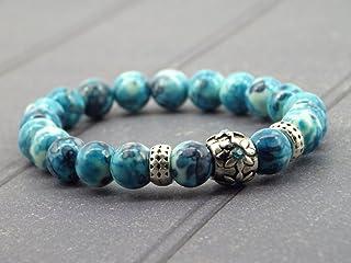 bracciale chic Miss Chichi giada bianca tinta blu con perline in metallo e cristalli incastonati