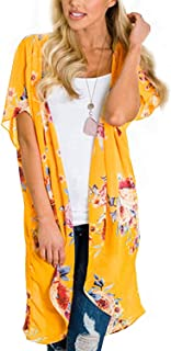Women's Summer Floral Print Kimonos Loose Half Sleeve Chiffon Cardigan Blouses Casual Cover Up