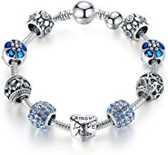 Lovely Blue Charm Beads Pandora Element DIY Bracelet Suitable with Girls and Women all ages 18cm