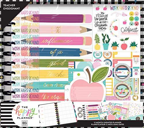 The Happy Planner Big Teacher Box Kit - Back to School Supplies - Teacher Influence Theme - 12 Month Undated Teacher Organizer & Accessories - 11 Pieces