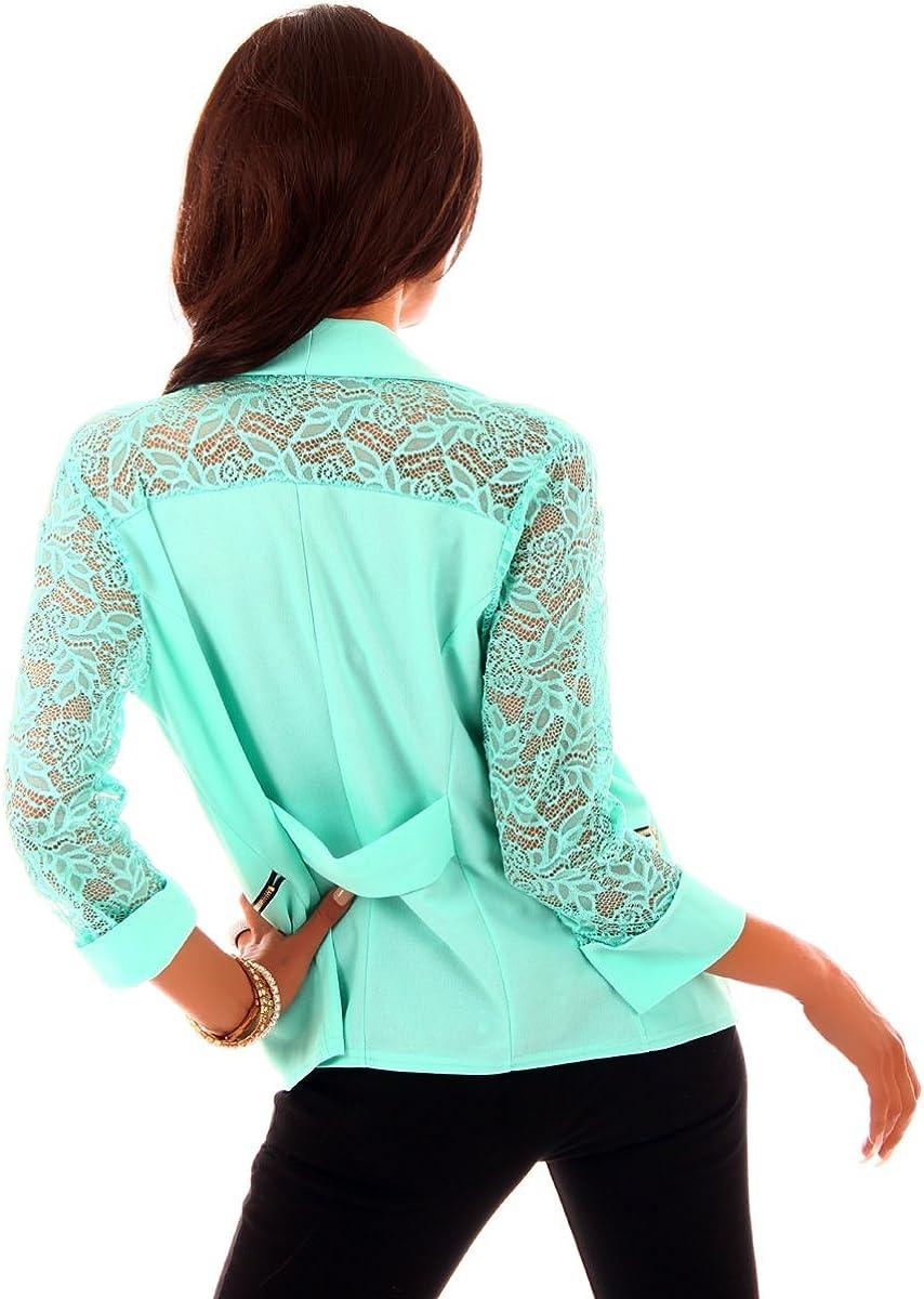 Fashion4Young 10260 Damen Kurzjacke Blazer Jäckchen Jacke Kurze Bolero-Design verfügbar in 6 Farben Türkis