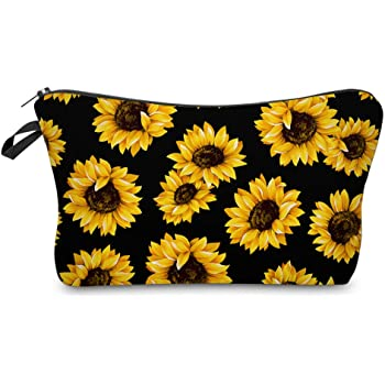 Cosmetic Bag MRSP Makeup bags for women,Small makeup pouch Travel bags for toiletries waterproof sunflower (51728)