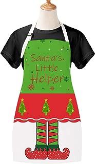 Christmas Day Kids Apron Santa Little Helper Elfin Children Apron Green Cartoon BBQ Apron for Child Christmas Party Gift Room