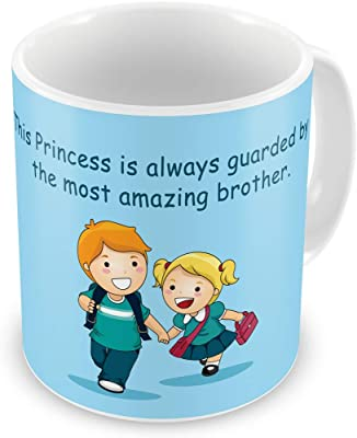 Bhaidooj Happy Diwali Gift Brother Sister Princess Guarded by Brother Printed Ceramic Mug Festive Memories Diwali Christmas Birthday Anniversary Everyday Gift
