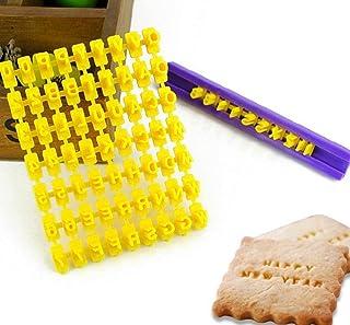 Juego de 72 sellos para galletas, con números y letras del alfabeto, cortador de fondant, herramienta de bricolaje