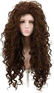Yuehong Cosplay Wigs fashion Style Fluffy Wavy Curly Brown Wig Synthetic Halloween Costumes Wig Hair