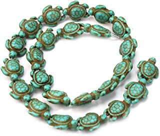ReFaXi Fashion A Strand Turquoise Carved Turtle Shaped Spacer Charm Beads 1418mm Blue