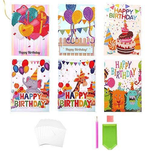 6-Pack Birthday Card 5D DIY Diamond Handmade Painting Kits, Balloons, Cakes,Christmas Cards Diamond Art Greeting Card, Art Round Diamond, Greeting, Thank You, Card Creativity for Family and Friends