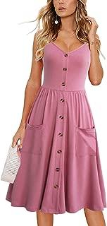 Women's Flattering Casual Summer Dress Beach Spaghetti Strap Button Down Midi Sundresses with Pockets