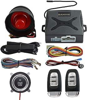 BANVIE ① Passive keyless Entry Car Alarm System + ② Remote Engine Starter + ③ Push to Start Iginition Button (with Siren)