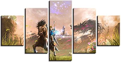 XIAOAGIAO 5 Canvas PaintingModern canvas painting frame printed in HD wall art images 5 pieces legend of the Zelda game posters home decoration living room Painting on Canvas
