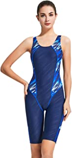 Women's Athletic One Piece Swimsuit Durable Training Unitard Swimwear with Trunks to Knee