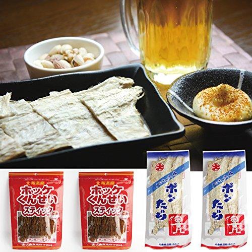 活彩 北海道 稚内 ブランド 珍味 セット〜 ポンたら & ほっけ燻製スティック 全4パック入