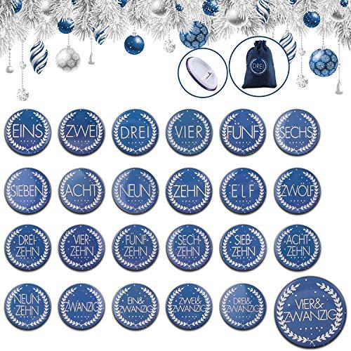 Adventskalender Zahlen Buttons Nummer, Adventskalender Buttons, 24 Adventskalender Zum Befüllen, Nr. 1-24 Aluminiummetallplatte Mit Nadel Auf Der Rückseite, Zur Dekoration Von Kalenderjutesäcken(Blau)