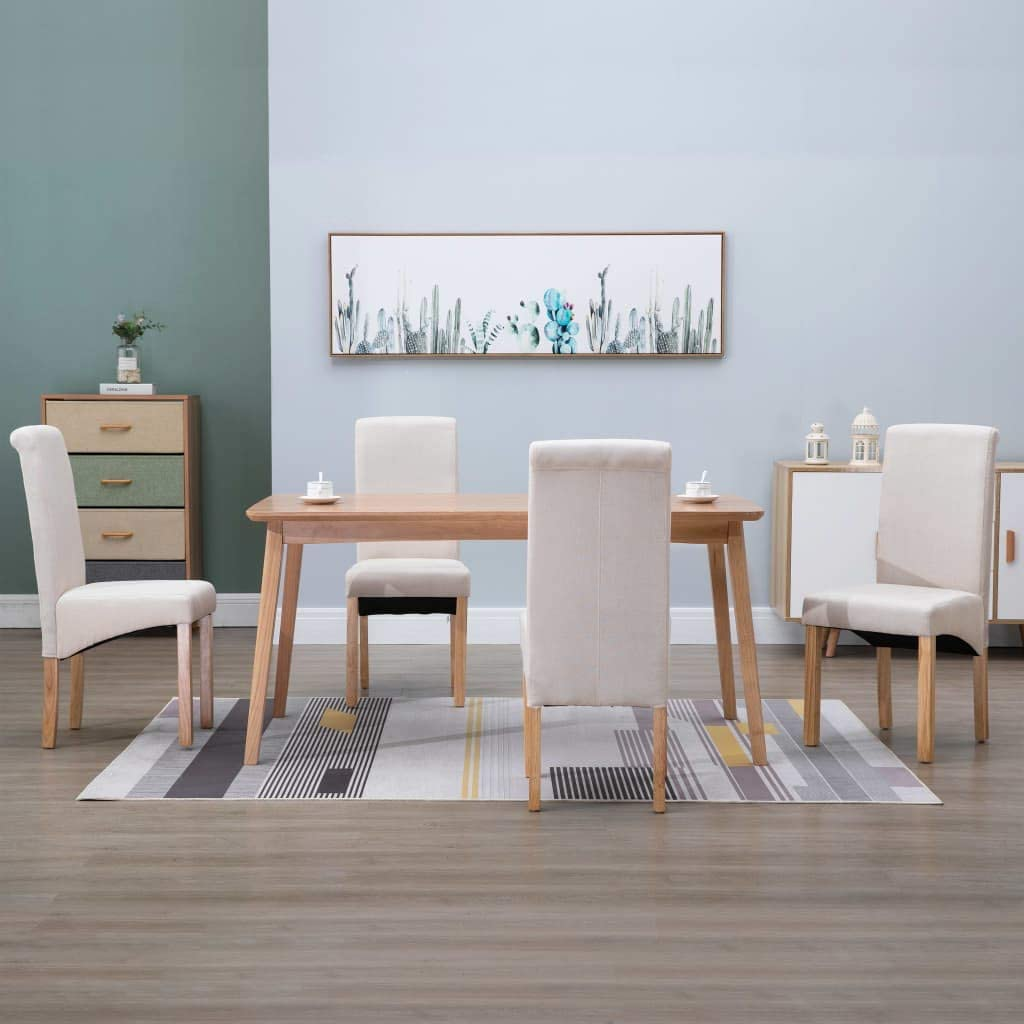 NusGear Dining Chairs Max 65% OFF 4 Fabric -272 Cream pcs New sales