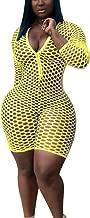 Bluewolfsea Women Sexy Front Zipper Bodycon Mesh Fishnet Short Jumpsuit Clubwear Beach Cover Up