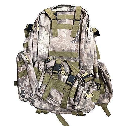 50L Sac à Dos Tactique Camouflage Sac à Bandoulière Imperméable Sac de Camping Randonnée Alpinisme (4 Piece Groupe de Sac à Dos) Python Bronzer