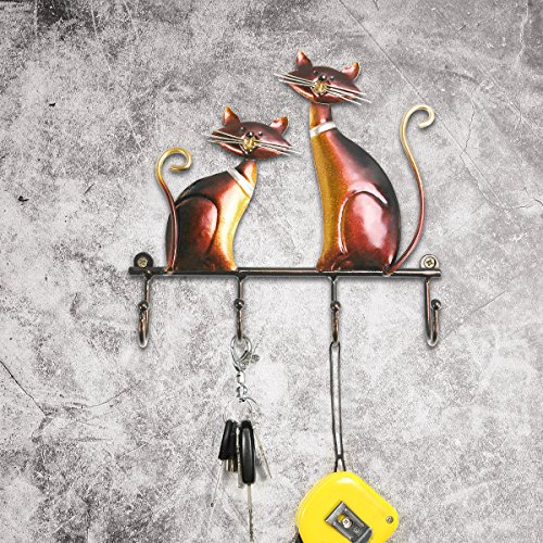 Tooarts Wall Mounted Key Holder Iron Cat Wall Hanger Hooks