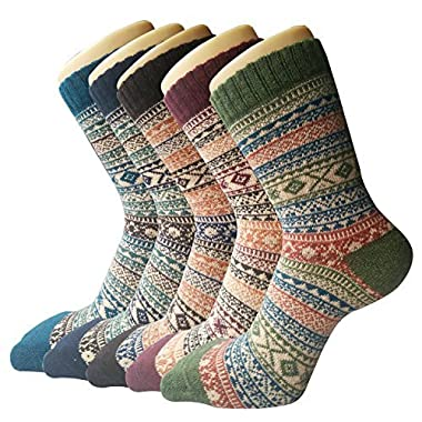 Pack of 5 Womens Thick Knit Warm Casual Wool Crew Winter Socks, Mixed Colors 4, Size 5 to 10