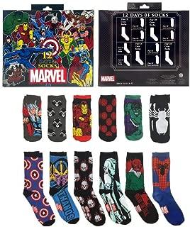 Marvel 12 Days Of Socks Advent Calendar Gift Set (Mens 6-12)