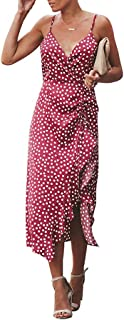 Dress for Womens Boho Polka-dot Tie Straps Deep V Neck Cocktail Midi Sleeveless Halter Sexy Sundress