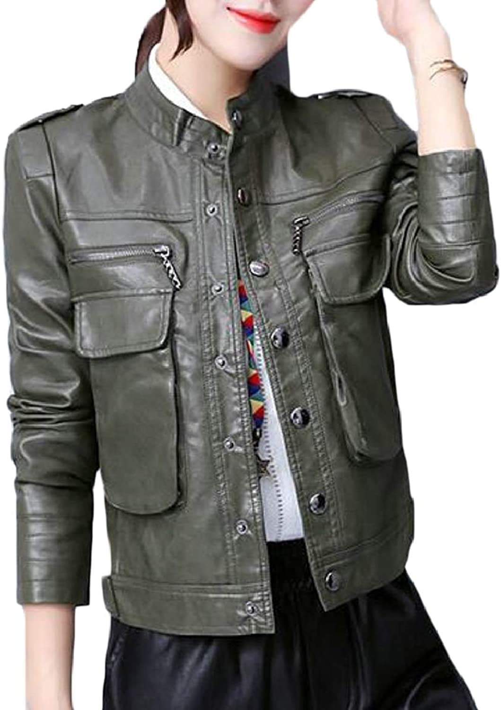 RGCA Women Faux PU Leather Motorcycle Jackets Sexy Long Sleeve Coats