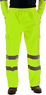 Janisramone Mens Hi Vis Visibility Viz Safety Fleece Bottoms Work Wear Trouser Jogger Pants