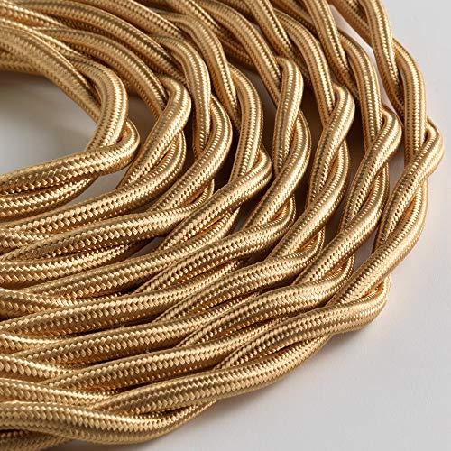Klartext – Cable textil trenzado luminoso TV/LAN, dorado, 5 m. Atención: cable...