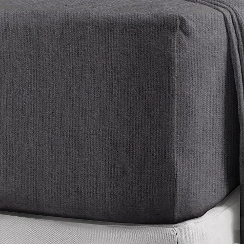 100% Brushed Cotton Flannelette 40CM/16' Extra Deep Fitted Sheets in 12 Colours (Double, Charcoal)