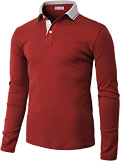 H2H Mens Casual Slim Fit Polo Shirt Tops Lightweight Longsleeve Basic Designed