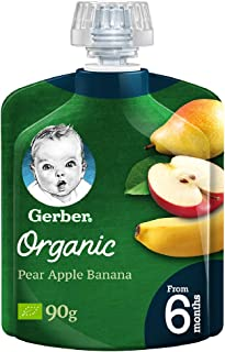 GERBER Organic Pear, Apple & Banana 90g(Pack of 1)